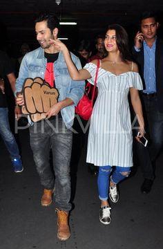 Varun Dhawan and Jacqueline Fernandez Get All Cutesy At The Airport! | PINKVILLA