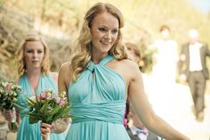 Blue green bridesmaids dresses by Twobirds Bridesmaids  | Photography by http://www.beyondmyeyes.com/