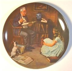 "Norman Rockwell Plates Price List | Norman Rockwell ""The Story Teller"" Plate 1983 