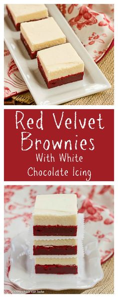 Dense and delicious Red Velvet Brownies with a thick, decadent layer of White Chocolate Icing from thatskinnychickcanbake.com @lizzydo
