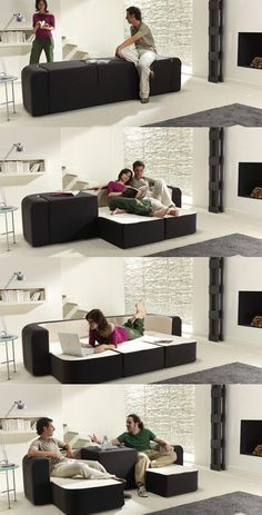 This convertible sofa designed by Spanish designers of Ebuala, is a sofa that can be made suitable for different situations, depending on the user's circumstances and relationships