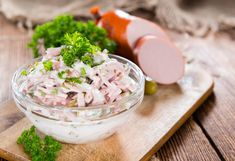 Buy Bowl with Meat Salad by HandmadePictures on PhotoDune. Bowl with Meat Salad and fresh herbs on wooden background Meat Salad, Krabi, Food Items, Fresh Herbs, Mayonnaise, Vegan Vegetarian, Potato Salad, Food Porn, Food And Drink