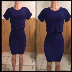 Two Piece Navy Blue Skirt Set Get this cute two piece navy blue skirt set. Crop top with matching above the knee skirt. The material is the set is polyester Lycra. Other