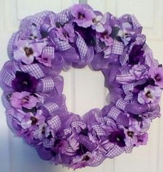 Deco Mesh Ribbon Wreath Spring Everyday Purple Violet Gingham Pansy  Flowers #DecoMesh