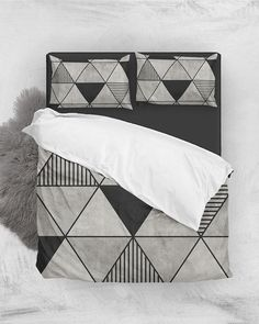 Concrete Triangles 2 // Duvet Cover + Pillow Shams by Zoltan Ratko // This pattern design is also available as a wall art, apparel, tech and home product. Pillow Shams, Bed Pillows, Natural Bedding, Luxury Bedding Collections, Geometric Pillow, Cozy Bedroom, Master Bedroom, Grey Bedding, Nordic Design