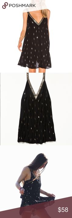 "Free People Rising Sun Slip Sheer Sequin Dress Embellished sheer mini slip featuring sequin detail and a plunging V-neckline. Effortless, relaxed silhouette. Few sequins missing. Still on website for $88. 100% Rayon Hand Wash Cold It came with one side a bit longer than the other- 38"" long on the left length- 36"" on the right 😜 not a huge difference and you don't notice it once it's on. Free People Dresses Mini"