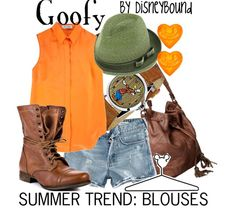 Disney Bound: Goofy from Mickey Mouse and Friends (Summer Trend Outfit) Disney Themed Outfits, Disney Bound Outfits, Disney Dresses, Disney Clothes, Winter Trends, Summer Trends, Cosplay Informal, Cosplay Casual, Goofy Disney