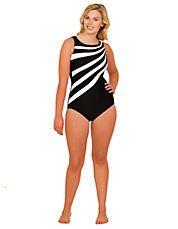 Plus Black & White Surplice One-Piece Bathing Suit