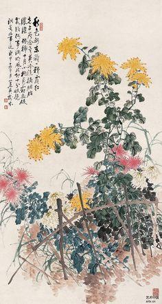 """""""东篱菊影""""吴树本花鸟作品欣赏"""