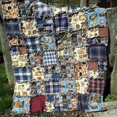 Check out this item in my Etsy shop https://www.etsy.com/listing/288380765/flannel-rag-quilt-rustic-welcome-to-bear