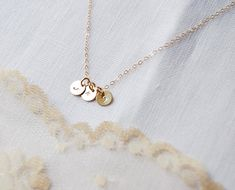 7mm Initial Disc One to Six Necklace Tiny Initial by LOVEinJewel