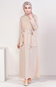 Sefamerve, Beli Büzgülü Cepli Elbise 4278-01 Bej Belted Dress, Striped Dress, Color Tag, Dark Khaki, Models, Light Beige, Evening Dresses, Duster Coat, Kleding
