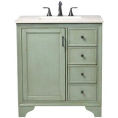 Home Decorators Collection Hazelton 31 in. Vanity in Antique Green with Marble Vanity Top in Beige with White Basin 8203500610 at The Home Depot - Mobile