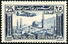 "Syria 1937 Scott C87 25p dark blue ""Omayyad Mosque and Minaret of Jesus at Damascus"""
