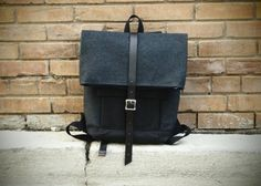 Grey Wool Two Tone Rolltop Laptop Rucksack by Hedj on Etsy, $220.00
