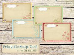 Free Printable Recipe Cards by Sassaby