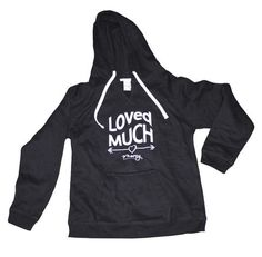 Loved Much Sweatshirt This ladies v-neck sweatshirt is black brushed with a front pouch pocket and contrast drawcord. Live in the truth that you are Loved Much!
