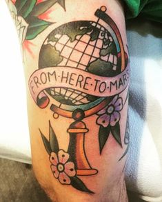 Traditional vintage old school globe tattoo coheed and cambria here to mars