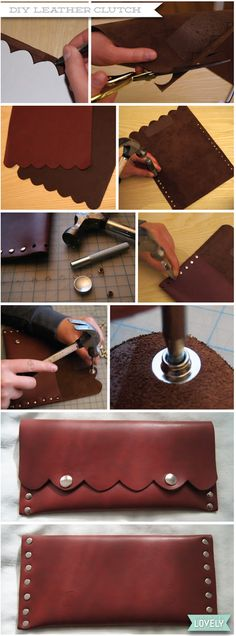 DIY scalloped leather clutch, purse, bag, studs, Wouldn't it be Lovely