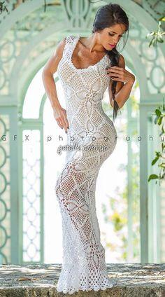 crochelinhasagulhas: Vestido branco com abacaxi