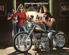 "David Mann moto Biker Easyriders Centerfold Art Poster Print Pub Local Chopper Sturgis Daytona 8.5 ""x 13"""