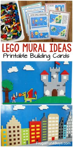 LEGO Wall Building Ideas and Printable Building Cards – Frugal Fun For Boys and Girls – Game Room İdeas 2020 Legos, Lego Building, Building Ideas, Lego Mosaic, Lego Challenge, Lego For Kids, Lego Storage, Storage Ideas, Lego Room