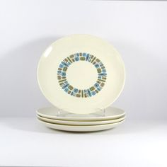 Vintage 1950s Temporama by Canonsburg Dinner Plates, Set of Four, Mid-Century Modern, Atomic Kitchen