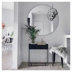 "Modern entryway table ideas round mirrors - explored ""entryway table i Entryway Table Modern, Living Room Decor, Home Decor, Living Room Interior, House Interior, Apartment Decor, Home Interior Design, Interior Design, Home And Living"