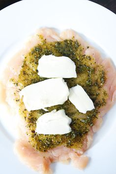 Mozzarella Pesto Stuffed Chicken Breasts Recipe on twopeasandtheirpod.com