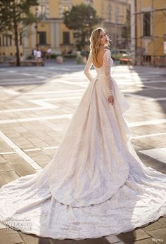 wona 2020 couture bridal long sleeves deep sweetheart neckline full embellishment elegant glamorous fit and flare sheath wedding dress a line overskirt backless scoop back chapel train bv — WONÁ Couture 2020 Wedding Dresses Unusual Wedding Dresses, Luxury Wedding Dress, Gorgeous Wedding Dress, Princess Wedding Dresses, Bridal Wedding Dresses, Wedding Dress Styles, Designer Wedding Gowns, Glamorous Wedding, Courthouse Wedding Dress