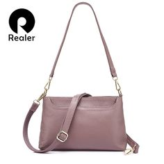 aebd8207fc4a REALER women shoulder messenger bags genuine leather handbag female fashion  crossbody bag ladies solid small tote