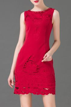 Beaded Embroidered Hollow Out Dress