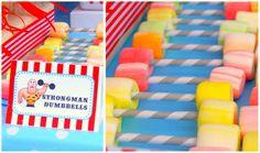 Circus strongman dumbbell candy