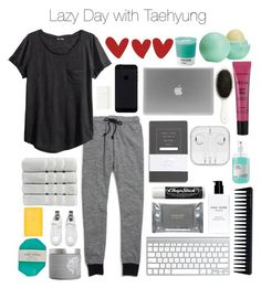 """""""Lazy Day with Taehyung"""" by outfitswithbts ❤ liked on Polyvore featuring Madewell, H&M, GHD, Bobbi Brown Cosmetics, Dermalogica, red flower, Davines, Pantone, Christy and Kate Spade"""