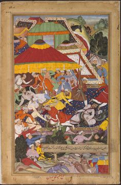Akbarnama Khan-i Kilan wounded by a Rajput while marching to Gujarat. 1572 the Mughal army moved west on campaign against the sultanate of Gujarat. On the way, envoys of the chief of Sirohi were received by general, Khan-i Kalan. As they departed, one lunged & stabbed the general. In retaliation, Khan-i Kalan's men killed the attacker & those with him. The incident made Akbar decide to take personal command of a force to crush the rebellion in Sirohi. Miskina & Sarwan ca. 1586 - ca. 1589 V&A