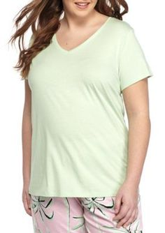 Hue Women's Plus Size Solid V-Neck Short Sleeve Tee - Pastel Green - 3X