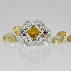 Citrine Garnet Gemstones Wire Wrapped Ring Silver Handmade Fair Trade USA Bazaars R Us