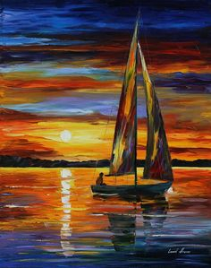 "'Sailing By The Shore"" by Leonid Afremov"