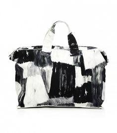 Norma Kamali Printed Rectangle Bag // black and white travel bag