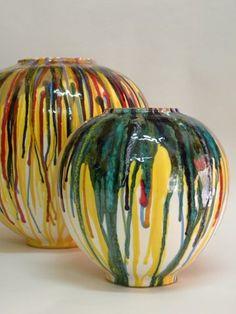 Ceramica artistica moderna- Piezas elaboradas en torno y decoradas con esmaltes.
