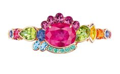 Dior Granville tourmaline rose bracelet in pink gold with diamonds, pink tourmalines, peridots, purple spinels, spessartite garnet, yellow beryls, sapphire, pink spinel, green tourmalines and aquamarines