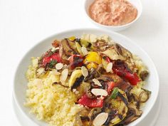 Get Food Network Kitchen's Grilled Vegetables With Couscous and Yogurt Sauce Recipe from Food Network