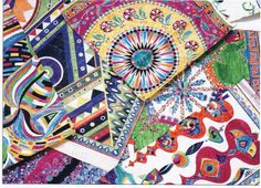 Hand colored designs for Pucci scarves from the 60's and 70's.