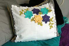 pretty felt flower embellished pillow