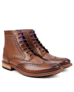 Brogue ankle boot - Tan | Shoes | Ted Baker