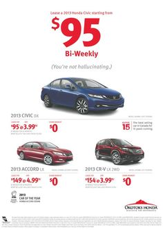 Where do you even find a car to lease for only $95/biweekly? @OkotoksHonda is where you need to be! #yyc #okotoks 2013 Accord, 2013 Honda, Cr V, Honda Civic, Car Ins, Running, Racing, Keep Running