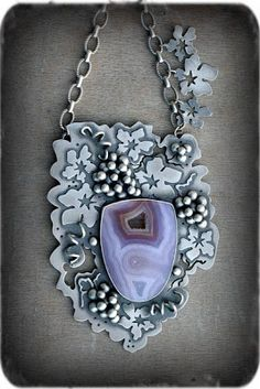 "Rosy Revolver: ""Scuppernong"" necklace of agua nueva agate, sterling silver"