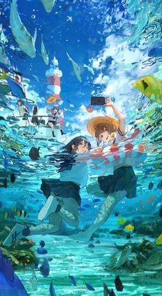 High quality Anime gifts and merchandise. Anime Art Girl, Manga Art, Pretty Art, Cute Art, Yuumei Art, Japon Illustration, Anime Scenery Wallpaper, Cool Anime Backgrounds, Image Manga