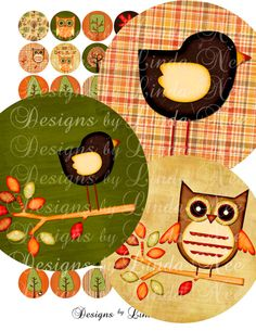 Instant Download - FALL is in the AIR (1 inch round) Bottlecap Images Digital Collage Sheet - Printable sticker magnet