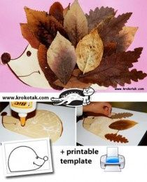 art -  given glue students will paste leaves onto a cut out hedgehog -  to develop fine motor skills